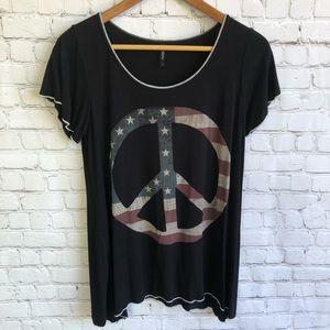 EDISTA Peace American Flag T Shirt Size Medium